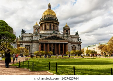 Saint-Petersburg, Russia, May 4, 2019 - View of St. Isaac Cathedral on St. Isaac square in spring cloudy day
