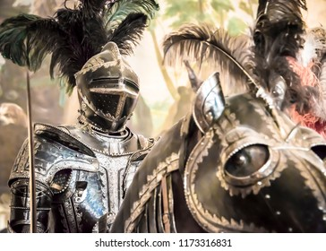 SAINT-PETERSBURG, RUSSIA - MAY 5, 2017: Knight's armor in the Knight's Hall in the Hermitage in St. Petersburg, Russia