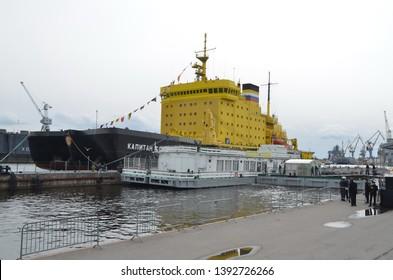 SAINT-PETERSBURG, RUSSIA - MAY 5, 2019 - Festival of icebreakers in St. Petersburg. Icebreaker Captain Sorokin
