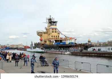 SAINT-PETERSBURG, RUSSIA - MAY 5, 2019 - Festival of icebreakers in St. Petersburg. Icebreaker Saint-Petersburg