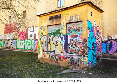 Saint-Petersburg, Russia - May 6, 2015: Urban transformer vault with colorful abstract graffiti. Vasilievsky island, St. Petersburg