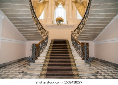 Saint-Petersburg, Russia - may,14,2019: Beautiful central  staircase  at the  Wedding palace number 2 at Furshtadtskaya street in Saint-Petersburg.  Luxurious interior of magnificent old mansion.