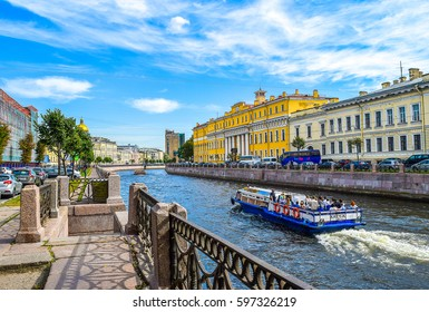 SAINT-PETERSBURG, RUSSIA - Moika river canal embankment in Saint Petersburg, Russia tourism map