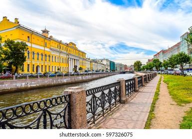SAINT-PETERSBURG, RUSSIA - Moika river embankment in Saint Petersburg, Russia