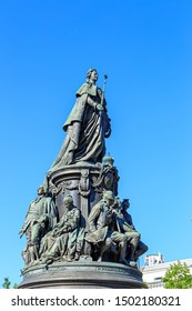 Saint-Petersburg, Russia. Monument to Catherine the Great. Text translated into English - Empress Catherine II during the reign of Emperor Alexandar II 1873