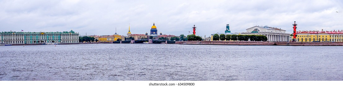 SAINT-PETERSBURG, RUSSIA - Neva river embankment panoramic landscape in Saint Petersburg, Russia