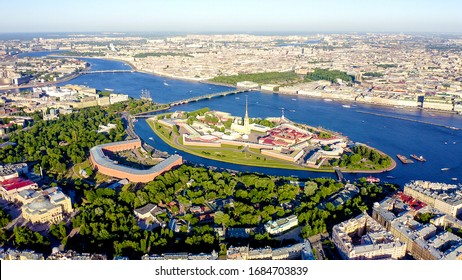 Saint-Petersburg, Russia. Neva River. Panoramic aerial view of Hare Island and Artelery Island. Peter-Pavel s Fortress. Trinity bridge, From Drone