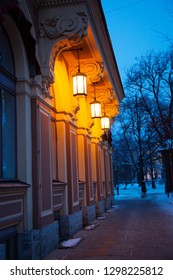 SAINT-PETERSBURG, RUSSIA Night Street View Romantic Street lights on classical architecture building