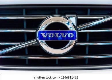 Saint-Petersburg, Russia - November 14, 2017: Volvo logo on the modern luxury swedish manufactury car Volvo XC60 R-Design Edition on the test-drive in Sankt-Petersburg