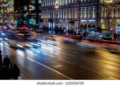 Saint-Petersburg. Russia, November 2, 2018: Evening Nevsky prospect in St. Petersburg.  Nevsky prospect is the Central street of St. Petersburg