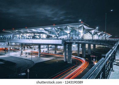 Saint-Petersburg / Russia - November 28 2017: Pulkovo airport at night, long exposure photo
