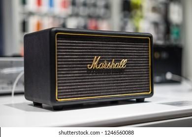 Saint-Petersburg / Russia - November 30 2018: Marshall Stockwell - Bluetooth Portable Wireless Speaker AMP on display in store