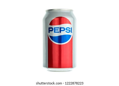 SAINT-PETERSBURG, RUSSIA - NOVEMBER 6, 2018: Pepsi aluminium can 1980 limited edition on white background by PepsiCo