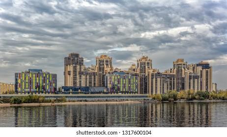 "SAINT-PETERSBURG, RUSSIA - Oct 17, 2018: Modern residential complex ""Golden harbor"" on Bolshaya (Big) Nevka banks."
