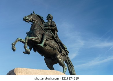 SAINT-PETERSBURG, RUSSIA, October, 10, 2018.  The Bronze Horseman is a monument to Peter the Great on the Senate Square in St. Petersburg. Its opening was held in 1782