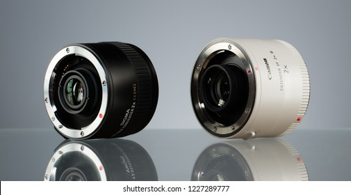 SAINT-PETERSBURG, RUSSIA - OCTOBER 22, 2018: Canon Extender EF 2x III and Sigma APO Tele Converter 2X EX