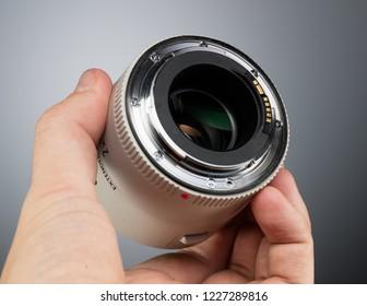 SAINT-PETERSBURG, RUSSIA - OCTOBER 22, 2018: Canon Extender EF 2x III