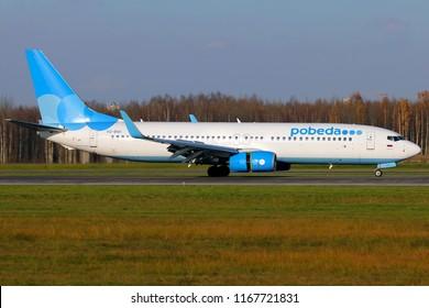 SAINT-PETERSBURG, RUSSIA - OCTOBER 24, 2016: Pobeda Airlines Boeing 737-800 plane landing in Pulkovo Airport.