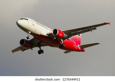 "SAINT-PETERSBURG, RUSSIA - OCTOBER 25, 2018: Airplane A319-114 ""Lipetsk"" (VP-BIU) of the airline Rossiya airline close-up against the cloudy cloudy sky"