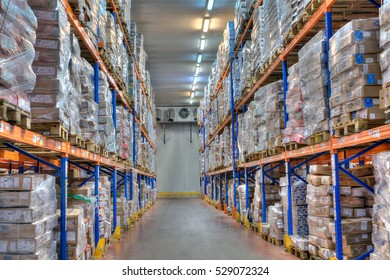 Saint-Petersburg, Russia - October 31, 2016: Shelves and racks in distribution cold storage warehouse interior.