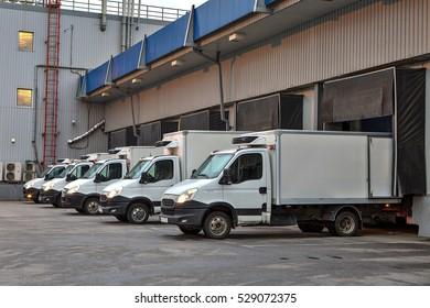Saint-Petersburg, Russia - October 31, 2016: trucks fleet  at loading dock shipping industry.
