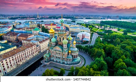 Saint-Petersburg. Russia. Panorama of St. Petersburg at the summer sunset. Cathedral of the Savior on blood. Cathedral of the Resurrection. Petersburg architecture. Petersburg museums. Russian cities.
