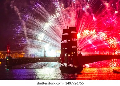 Saint-Petersburg. Russia. Salute over the Neva river. Festival Scarlet sails in St. Petersburg. Annual graduates holiday. The Bridges on Neva. Russian cities. Fireworks in Petersburg.