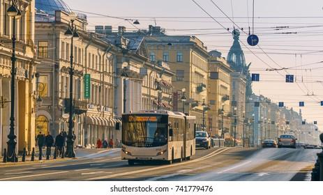 Saint-Petersburg, RUSSIA - Sep 25 2017, Bus moving through Nevsky Prospect (Nevsky Avenue), on Sep 25, 2017 in Saint-Petersburg, Russia