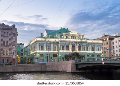 SAINT-PETERSBURG, RUSSIA, SEPTEMBER 02, 2018: Tovstonogov Bolshoi Drama Theater. The building of the theater with architectural illumination in the evening on the Fontanka River embankment 65