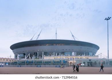 SAINT-PETERSBURG, RUSSIA - SEPTEMBER 10, 2017: A new stadium on the Krestovsky island, known as the the Saint Petersburg Arena, aka the Zenith Arena, aka the The Krestovsky Stadium