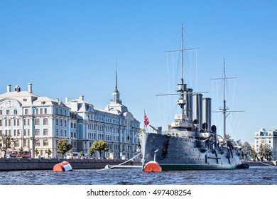 SAINT-PETERSBURG, RUSSIA - SEPTEMBER 13, 2016: Cruiser Aurora after capital renovation back to her mooring place in front of the Nakhimov College July 16, 2016