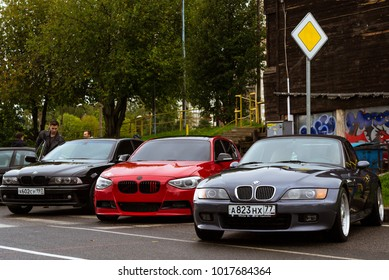 Saint-Petersburg, Russia - September 16, 2017: Cars BMW 3, 7, Z-series for rally car lovers German Bavarian manufacturer BMW. Event BMW Meetup. Autumn meeting car lovers of speed and drive