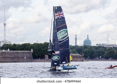 SAINT-PETERSBURG, RUSSIA - SEPTEMBER 2, 2016: Land Rover BAR Academy (GBR) catamaran on Extreme Sailing Series Act 5 catamarans race on 1th-4th September 2016 in St. Petersburg, Russia