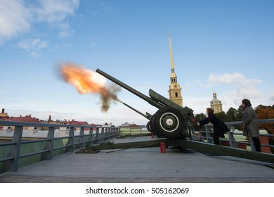 "Saint-Petersburg, Russia - September 25, 2016: The famous French actress Isabelle Huppert on Film Festival ""Message to Man"". Midday cannon shot from the fortress"