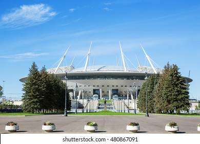 SAINT-PETERSBURG, RUSSIA - SEPTEMBER 6, 2016: The new soccer Saint-Petersburg Stadium (Krestovsky) in St. Petersburg for the World Cup ander construction
