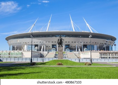 SAINT-PETERSBURG, RUSSIA - SEPTEMBER 6, 2016: The construction of the new soccer Krestovsky Stadium in St. Petersburg for the World Cup