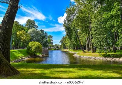 SAINT-PETERSBURG, RUSSIA - Summer Park canal pond landscape in Saint Petersburg, Russia