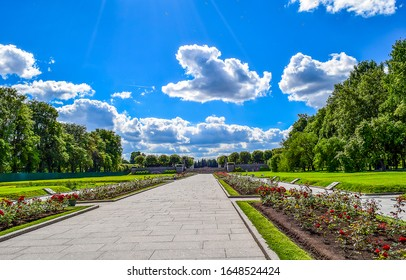 SAINT-PETERSBURG, RUSSIA - Summer Park landscape on Piskarevskoe memorial cemetery with graves of victims of siege of Leningrad, USSR during Second World War