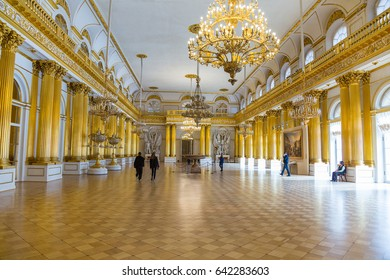 SAINT-PETERSBURG, RUSSIA-FEBRUARY 19, 2017: The State Hermitage Museum. The  Winter Palace. Interior of the Armorial Hall, 1830.