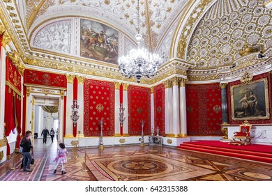 SAINT-PETERSBURG, RUSSIA-FEBRUARY 19, 2017: The State Hermitage Museum. The  Winter Palace. The interior of the Petrovsky (Small Throne) Hall, 1833.