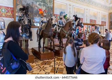 SAINT-PETERSBURG, RUSSIA-FEBRUARY 19, 2017: The State Hermitage Museum. The  Winter Palace. The interior of the Knights Hall.