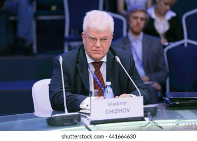 SAINT-PETERSBURG, RUSSIA-JUN 16, 2016: St. Petersburg International Economic Forum SPIEF-16. Vladimir Alekseevich Chizhov is a Russian diplomat, Russia's permanent representative to the European Union