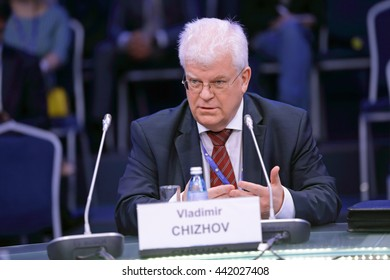 SAINT-PETERSBURG, RUSSIA-JUN 16, 2016: St. Petersburg International Economic Forum SPIEF-16. Vladimir Alekseevich Chizhov is a Russian diplomat, Russia's permanent representative to the European Union