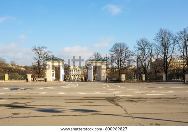 SAINT-PETERSBURG, RUSSIA-MARCH 12, 2017:Propylaea of the Smolny Institute