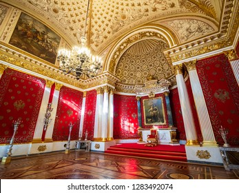Saint-Petersburg, RUSSIA-September 27, 2018:Small Throne Hall of Hermitage Museum, Winter Palace on Palace Square .Hermitage is one of the largest and oldest museums of art and culture in the world.