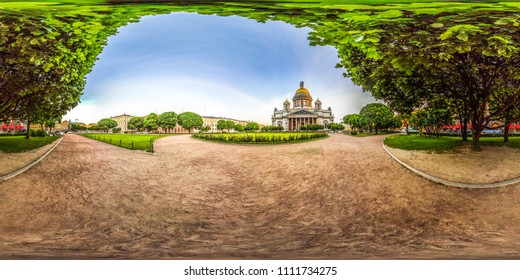 Saint-Petersburg  Saint Isaac's Cathedral. White nights. Blue sky. 3D spherical panorama with 360 viewing angle. Ready for virtual reality. Full equirectangular projection.