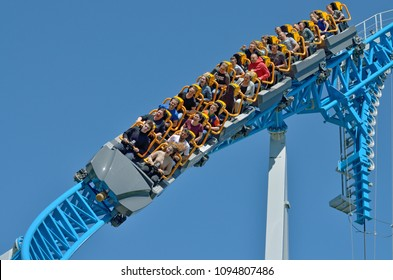 Saint-Petersburg.Russia. may. 20.2018. Divo island Park.A popular attraction is the Russian roller coaster.It is a railway system of special design.Passengers traveling in railcar at high speed.