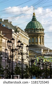Saint-Petersburg.Russia.15 July 2018. View at Malaya Konushennaya street and Kazan Cathedral in St. Petersburg
