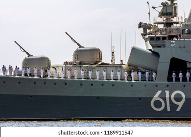 Saint-Petersburg.Russia.29 July 2018.Parade of warships on the day of the Navy in the waters of Kronstadt in St. Petersburg.