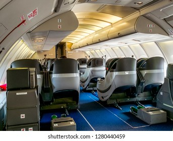 Saint-Petersburg.Russia.3 June 2018.The passenger cabin of the Boeing 747-400